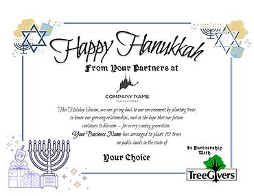 Happy Hanukkah Sample Certificate
