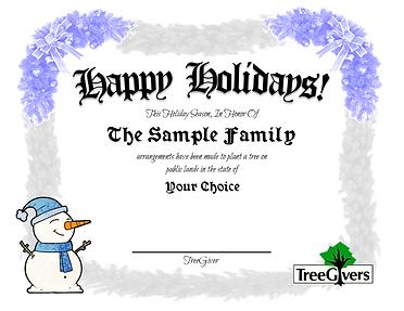 Happy Holidays Tree Planting gift