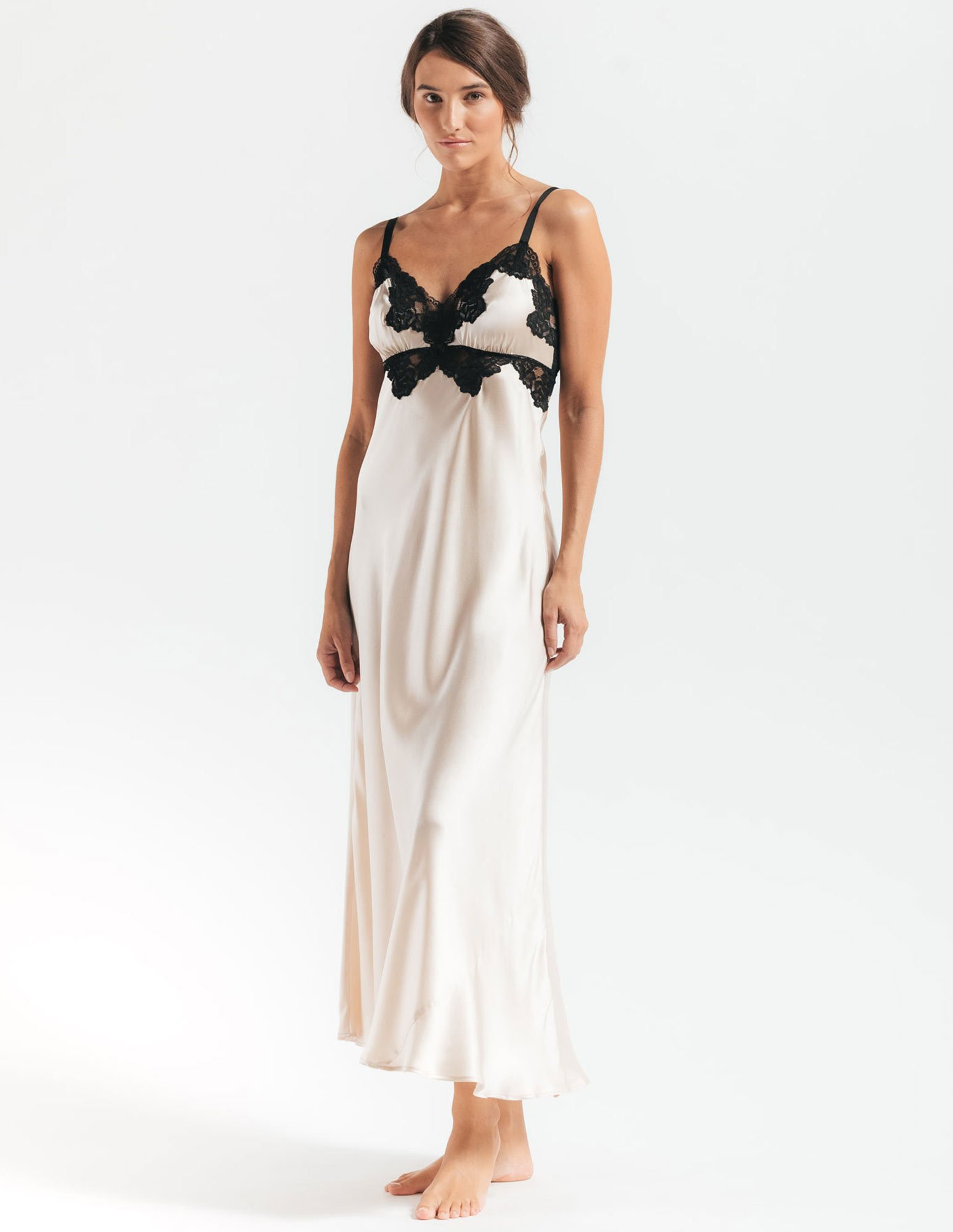 22. Morgan Vintage Gown $261. S-L. Champagne (shown), all black, or all ivory.