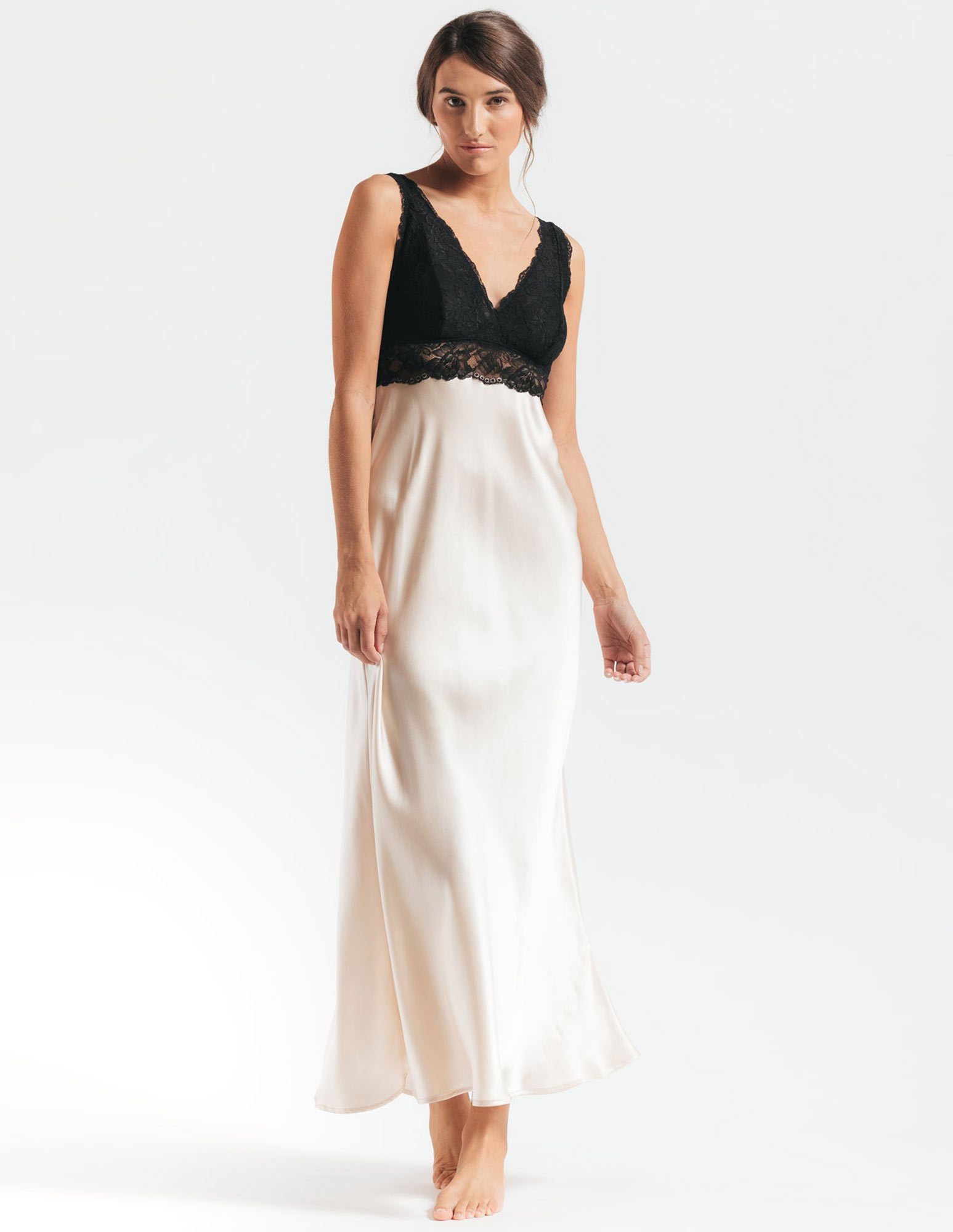 24. Morgan Bust-Support Gown $254. S-XL. Champagne (shown), all black, or all ivory.