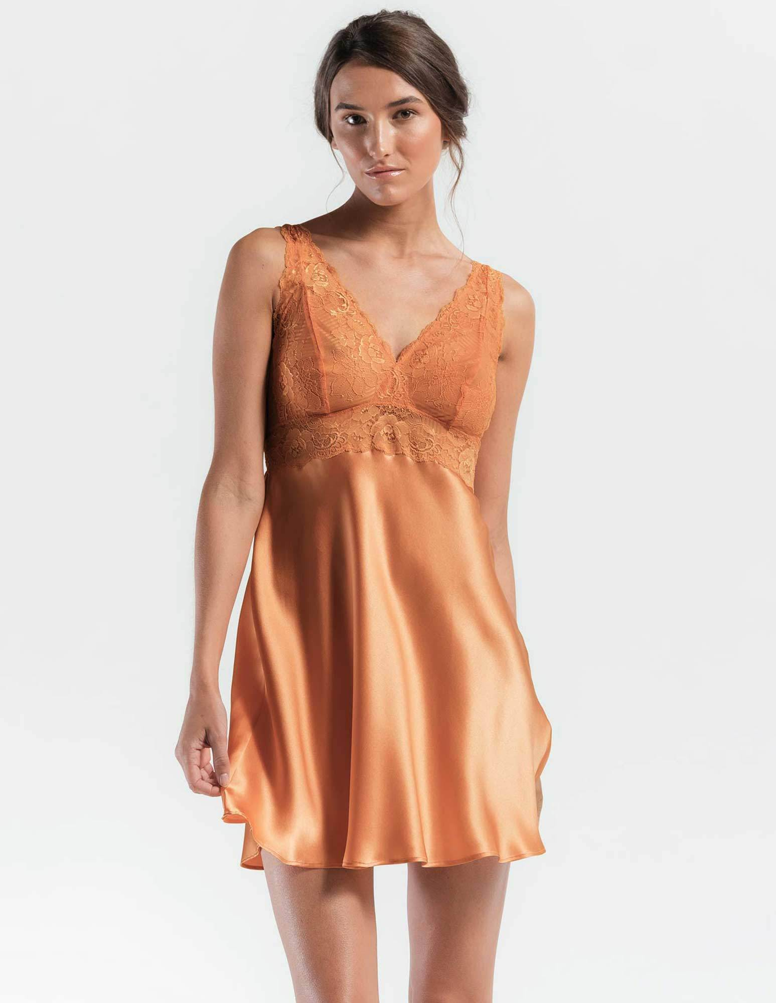 41. Morgan bust support chemise $161. XS-XL. Peach
