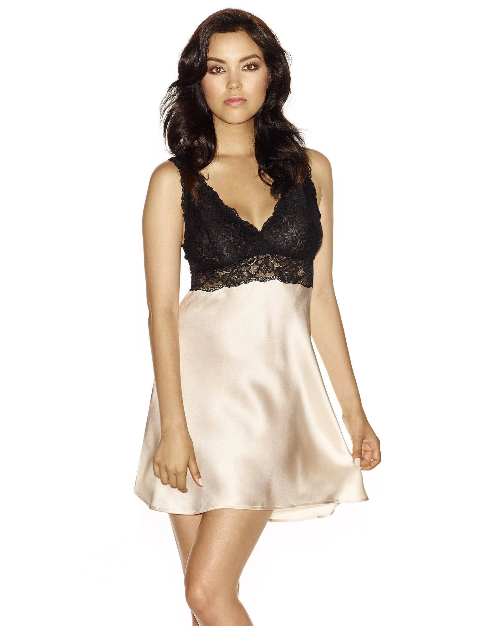 44. Morgan bust support chemise $161. XS-XL. Champagne