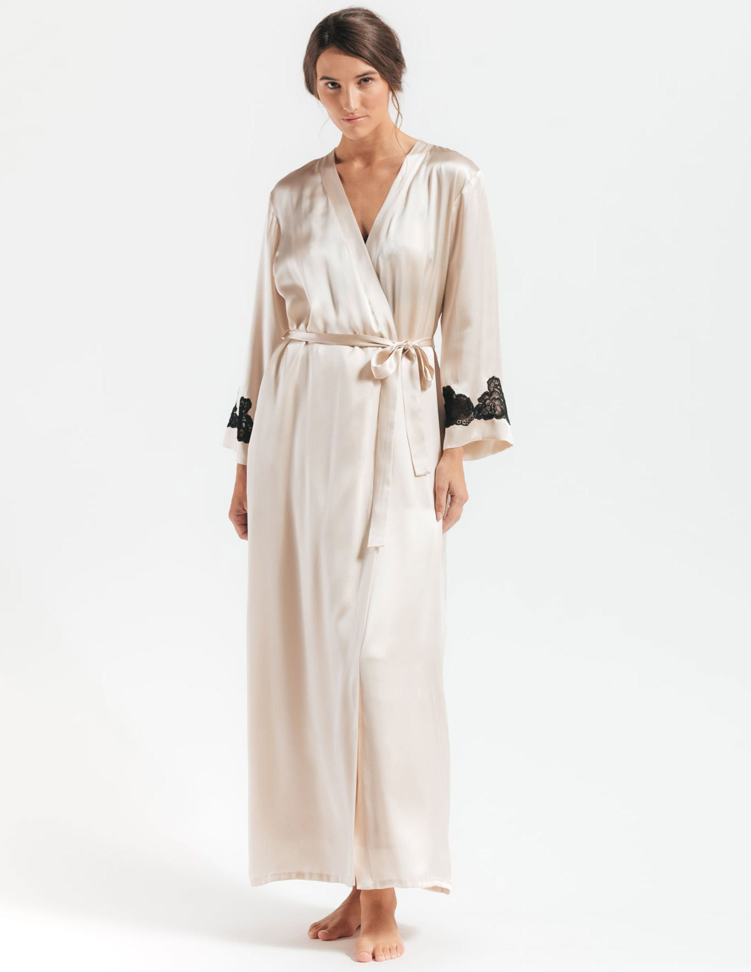 23. Morgan Long Robe $300. S-L. Champagne (shown), all black, or all ivory.
