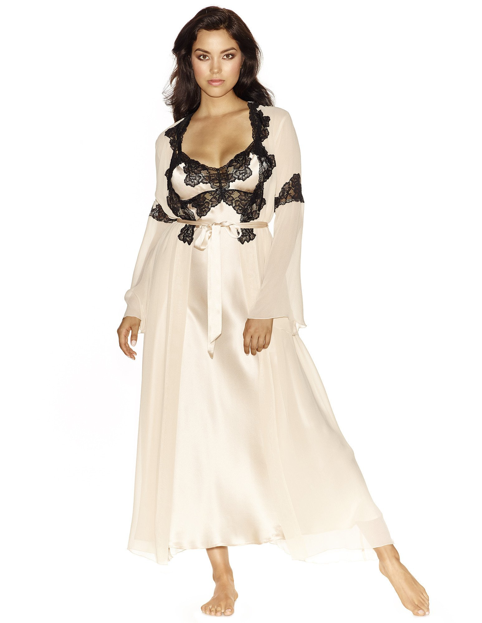 25. Charming Long Chiffon Robe $250. S-L. Champagne (shown), all black, or all ivory.