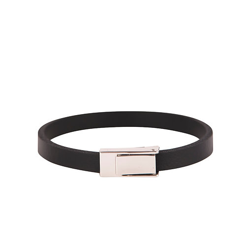 Slim black leather band bracelet