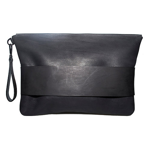 Black leather A4+ sized Bag
