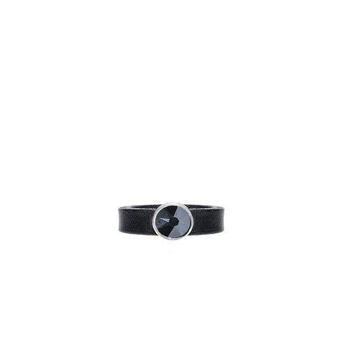 Leather ring with black Swarovski crystal