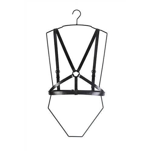 Leather body harness with ring detail