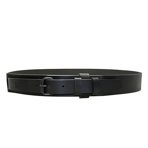 Black Leather Belt With Double Keeper