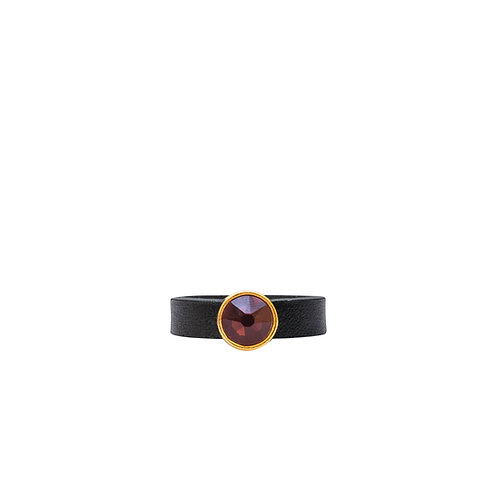 Leather ring with burgundy Swarovski crystal