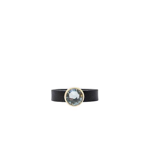 Leather ring with grey Swarovski crystal