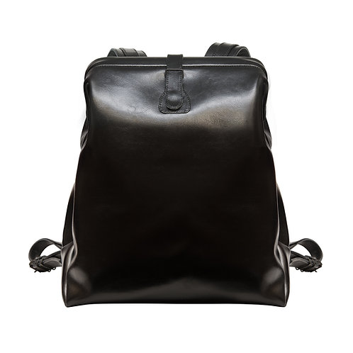 Black Leather Backpack L