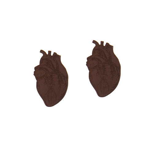 Dark Brown Heart Earrings