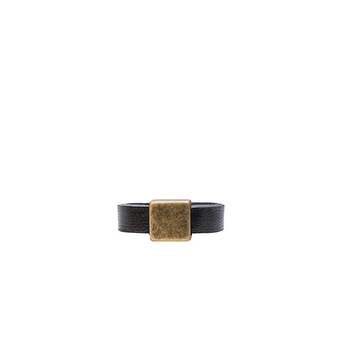 Leather ring with bronze tone square detail