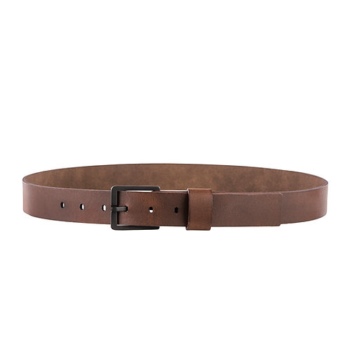 Full Grain Leather Belt with Distressed Copper Buckle