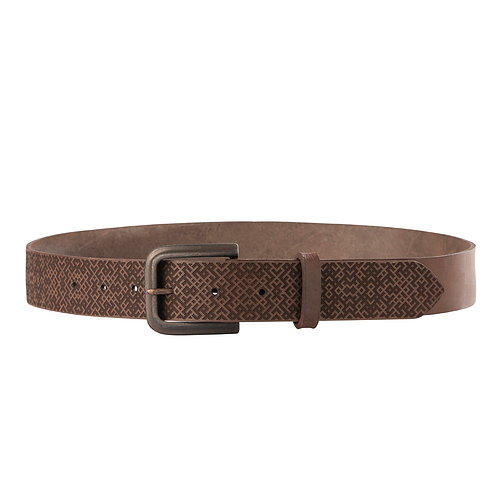 Brown leather belt with Lielvardes belt pattern