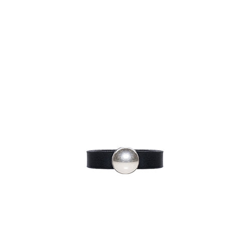 Leather ring with silver tone circle detail