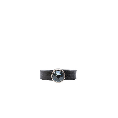 Leather ring with clear blue Swarovski crystal