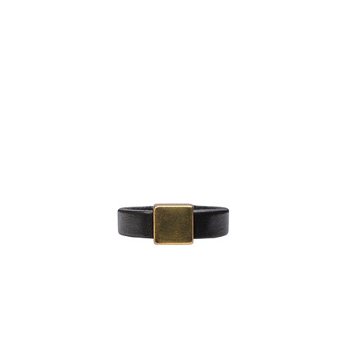 Leather ring with gold tone square detail