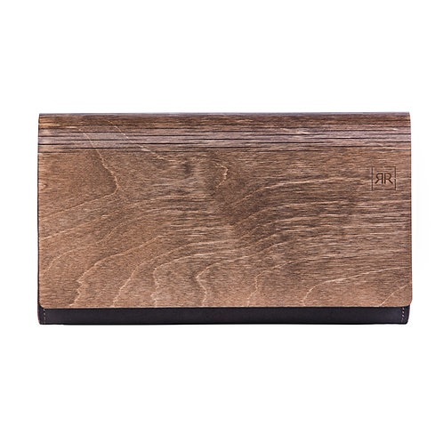 Large Brown Wood Clutch