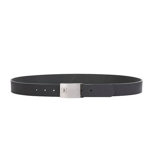 Leather Belt with Silver Buckle