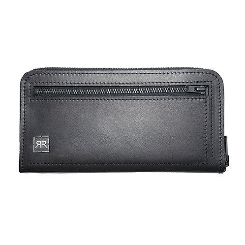 Zip-Around Black leather Wallet