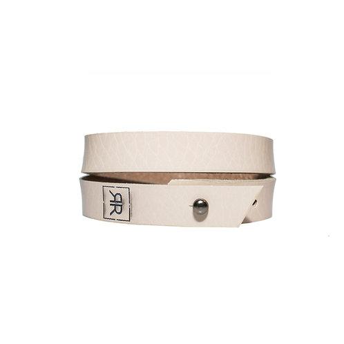 Simple beige double wrap bracelet
