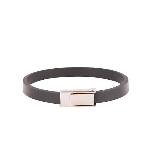Slim grey leather band bracelet