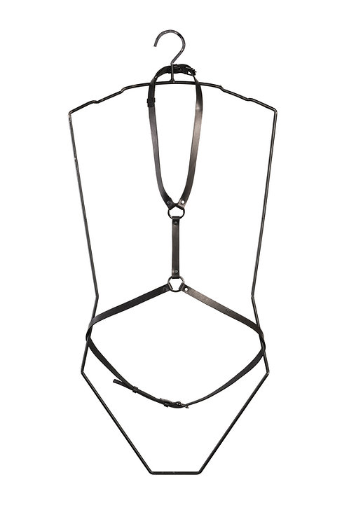 Leather Harness with double Ring detail
