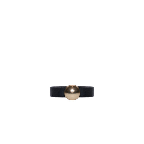 Leather ring with gold tone circle detail