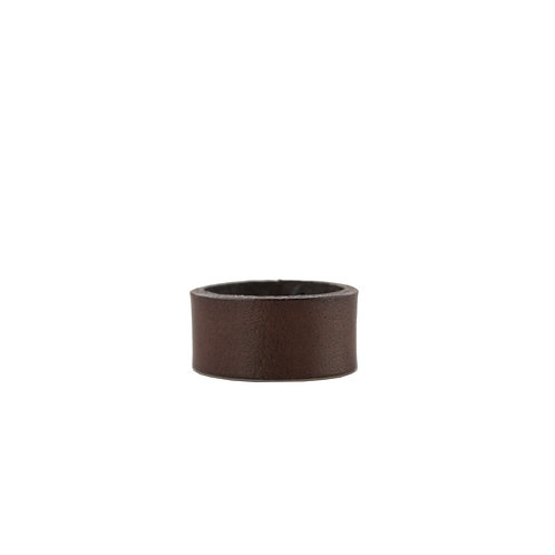 Brown leather band ring
