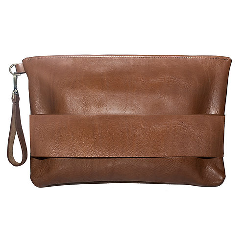 Brown leather A4+ sized Bag