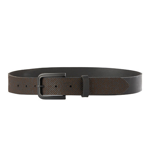Black leather belt with Lielvardes belt pattern