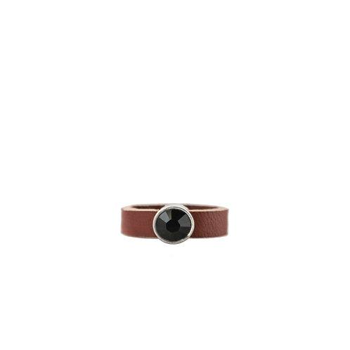 Leather ring with black Swarovski crystal