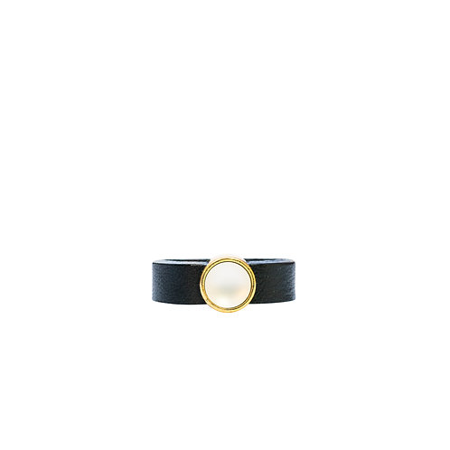 Leather Ring with white pearl crystal