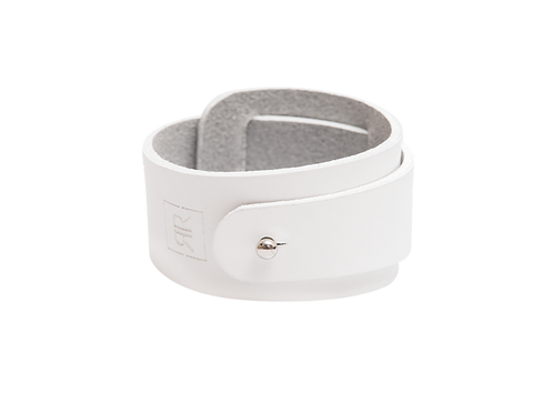 Wide White leather bracelet with strap around