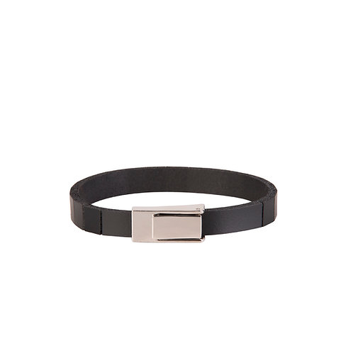 Slim Leather Band Bracelet with Cutted Lines