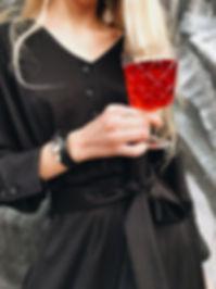 Wolf bracelet accessories, leather wolf bracelet, girl with wolf bracelet, red vine, black dress