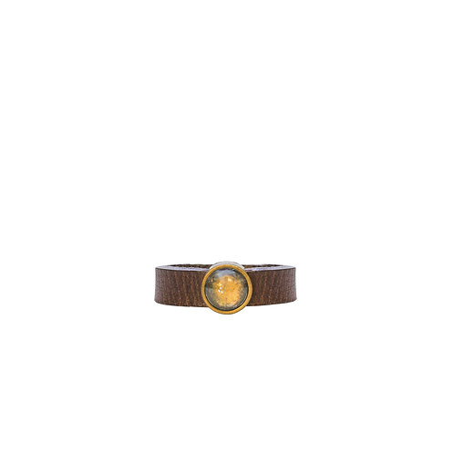 Leather Ring with clear bronze crystal
