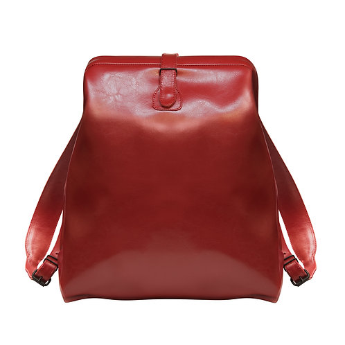 Red Leather Backpack L