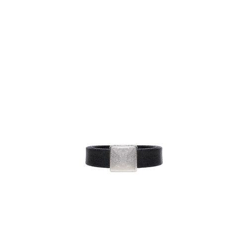 Plain silver square detail ring