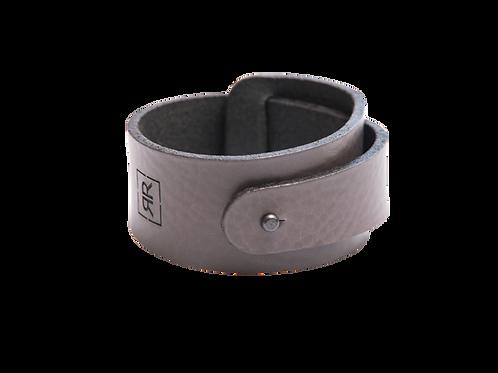Wide Grey leather bracelet with strap around