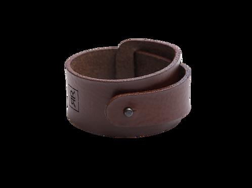 Wide Dark Brown leather bracelet with strap around