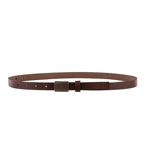 Skinny belt with bronze plate buckle