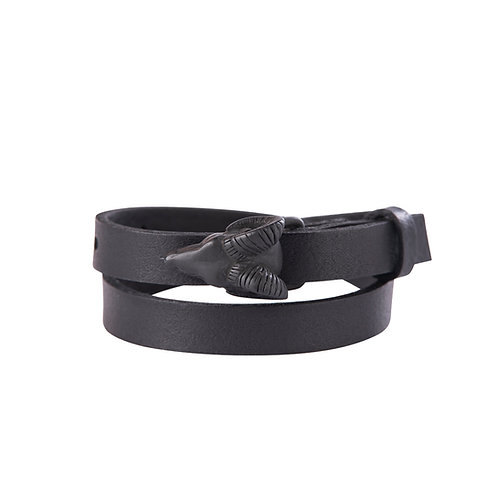 Black Aries Buckle Bracelet