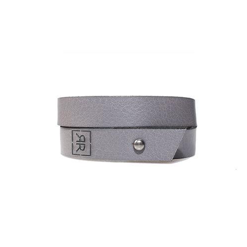 Simple grey double wrap bracelet