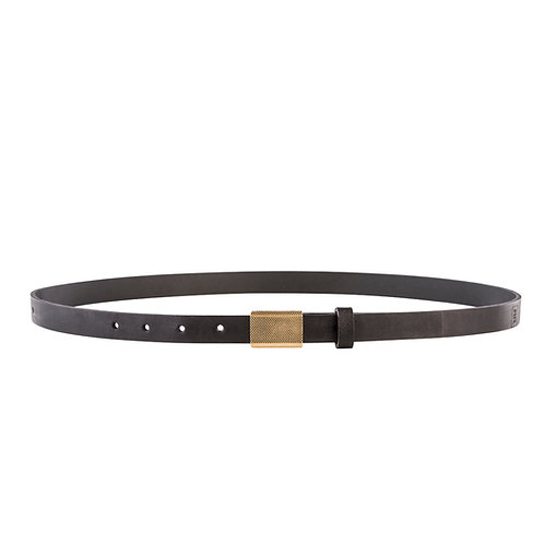 Skinny belt with gold plate buckle