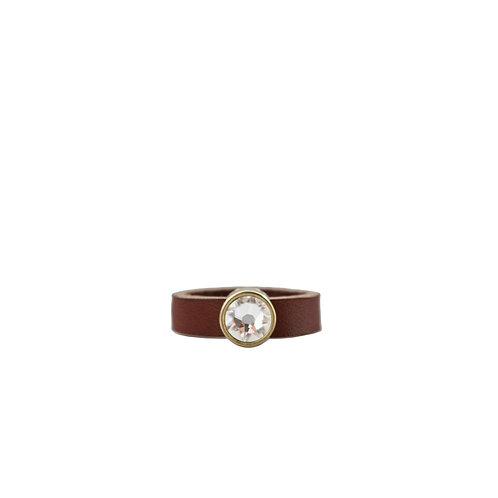 Leather ring with clear Swarovski crystal