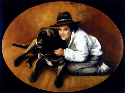 'Woman with Russian Wolfhound'