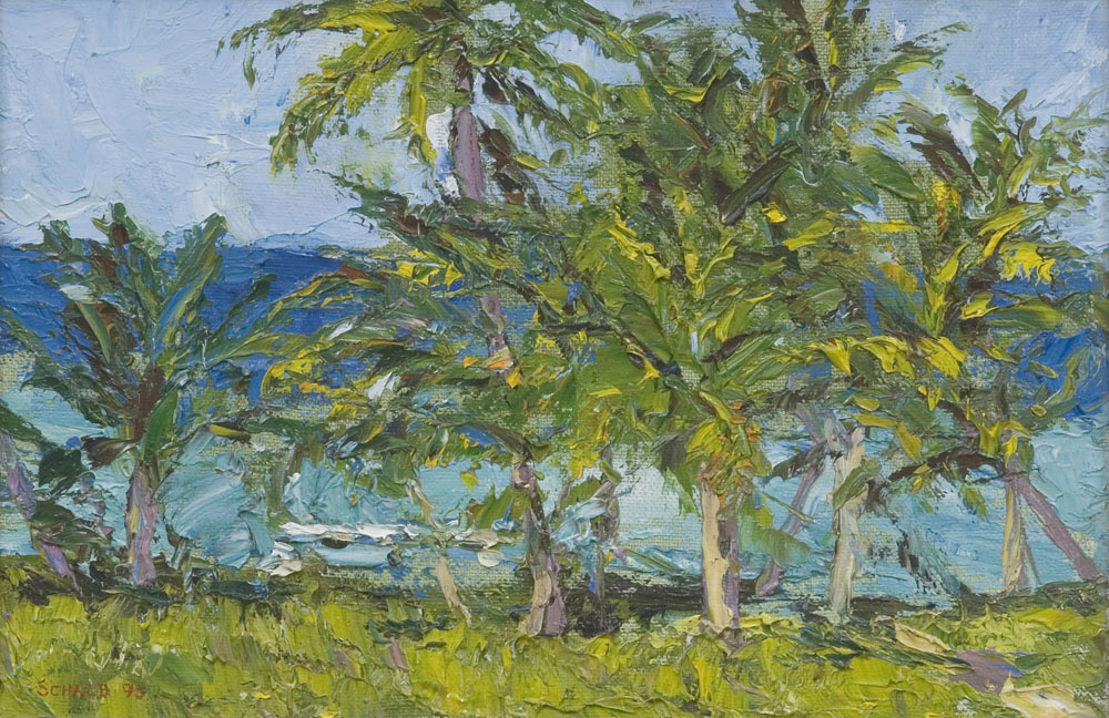 'Palette Knife Palm Trees, St. Croix'